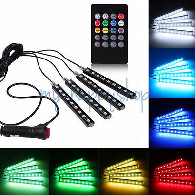 4pcs/Set RGB LED Atmosphere Strips Light In-Car Footwell Sound Remote Control UK