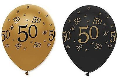 """Black Gold Pack of 6 12"""" Birthday Age 50 Latex Balloons 50th Party Decoration"""