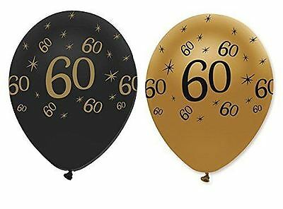 "Black Gold Pack of 6 12"" Birthday Age 60 Latex Balloons 60th Party Decoration"