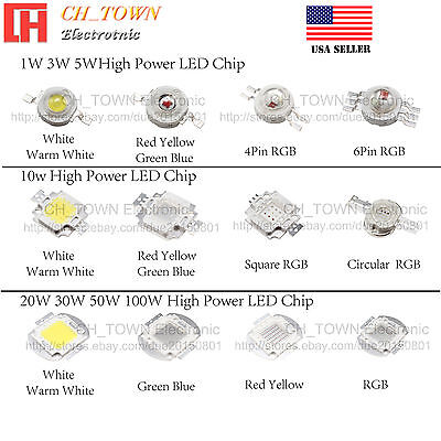 1W 3W 5W 10W 20W 30W 50W 100W White Blue RGB High Power LED Chip COB Lights
