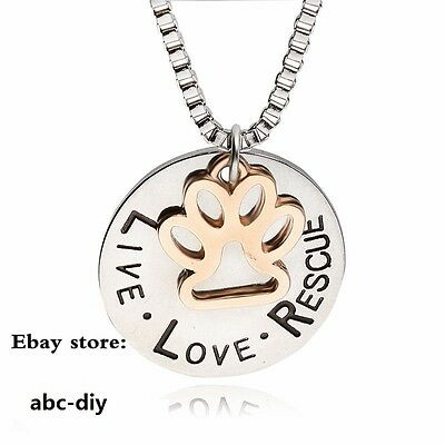 New Live Love Rescue Paw Print Pendent Necklace Pet Animal Lover Memorial Gift