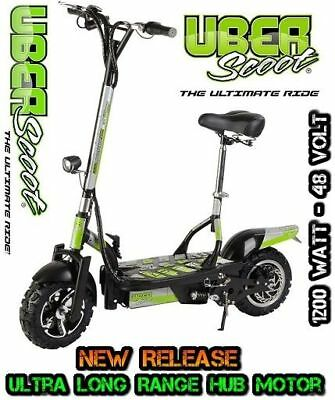 Uberscoot 48V 1200W Brushless Electric Scooter - Black Off Road Tyre Model