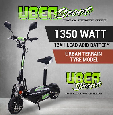 Electric Scooter BLACK UBERSCOOT 48V 1200W brushless - Road Terrain Tyre Model