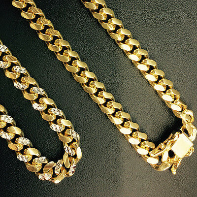 6.8mm 14k Yellow Gold 925 Sterling Silver Miami Cuban Solid Chain 28 Inch Italiy