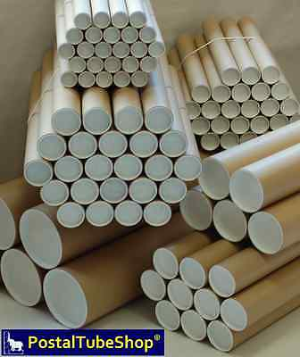 A1 Cardboard Postal Tubes 63.5mm I/D w/ plugs - FREE Next working day delivery