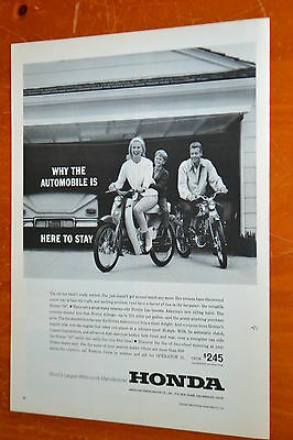 Neat 1963 Honda 50 Motorcycles Ad With Family In Suburbs - Vintage 60S Bikes