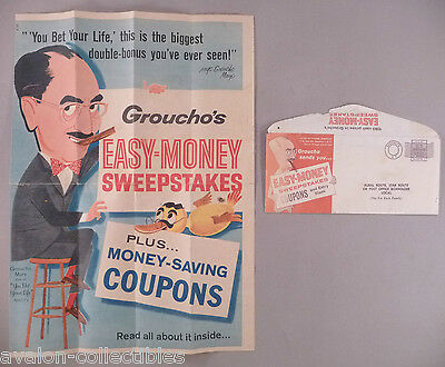 Groucho Marx - Easy Money Sweepstakes - Brochure and Envelope - 1959