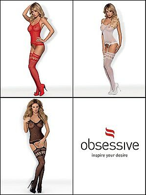 OBSESSIVE F214 Luxury Super Soft Fine Fishnet Patterned Bodystocking - 3 Colours