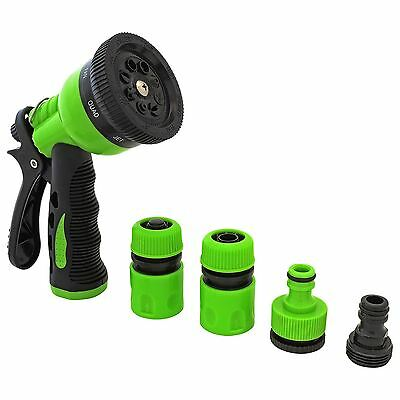 7 Dial Garden Hose Pipe Spray Gun Soft Grip Handle Multi Pattern Water Sprayer
