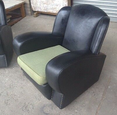 Stylish Retro 1950's Art Deco Leatherette Club Chair - Mid century