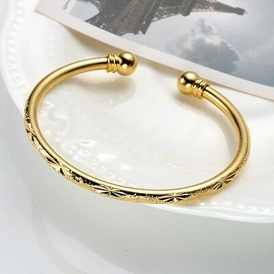 Women's Bangle 18k Yellow Gold Filled Open Charms Bracelet Fashion Jewelry