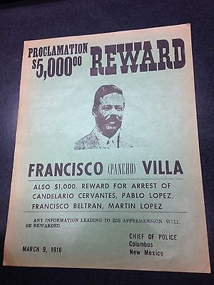 Rare Original 1916 Wanted Poster For Pancho Villa By Columbus Police Chief