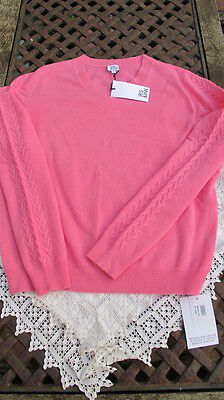 luxe new bright pink IRIS & INK 100% CASHMERE cable sleeve JUMPER bnwt Lge uk14