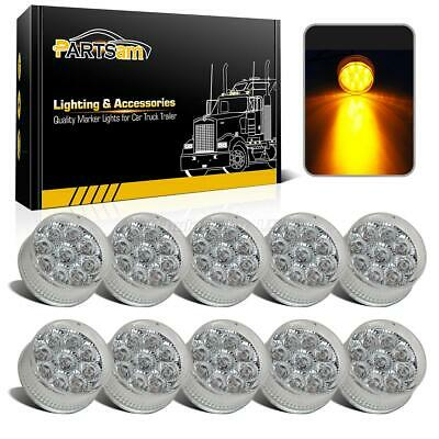 "10x 2"" Round Led Marker Light Clear/Amber 9LED w Flower Petal Look Trailer Light"