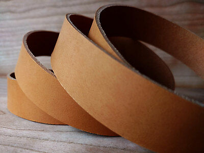 """46"""" CAMEL COLOUR VEG TANNED LEATHER STRAP 1.8/2mm TUSCANY LEATHER VARIOUS WIDTHS"""