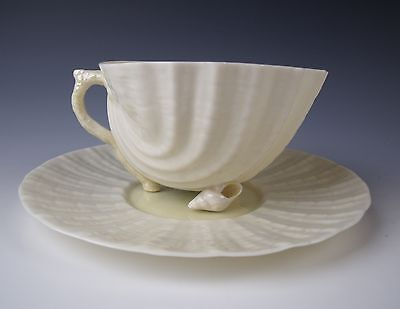 Belleek China NEPTUNE YELLOW-Green/4th Mark Cup & Saucer Set EXCELLENT