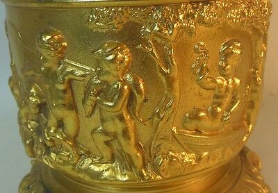 Antique Gold Metal Lamp CHERUBS PUTTI Dog Snake Fish Victorian French Rococo