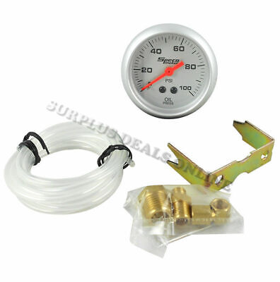 "Speco Meter Automotive Mechanical Oil Pressure 2"" Gauge Silver Face #524-16"