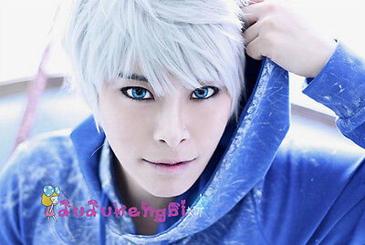 Cosplay Short Silver White Wig with Free Hairnet Rise of the Guardian Jack Frost