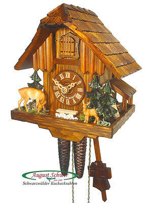 Black Forest Cuckoo Clock 1-Day Chalet Wood Cabin NEW
