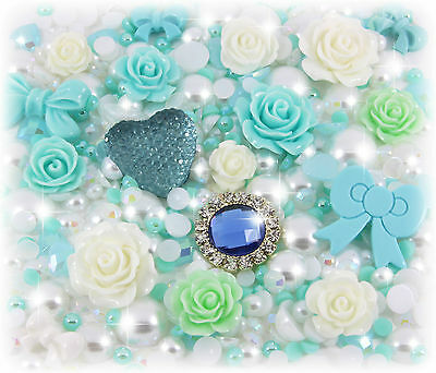 'Daydream' 20g Turquoise & White Pearl & Gems Decoden Kit Set Kawaii Craft