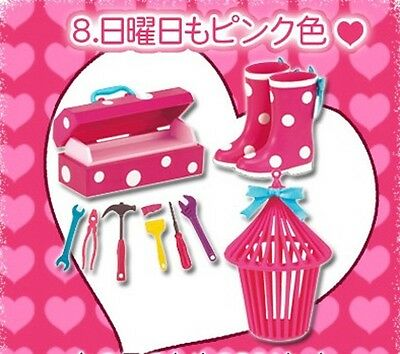 RARE Re-ment dollhouse miniature lovely pink #8 pink boots tool box 2008