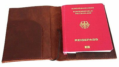 ECHT LEDER AUSWEISETUI Reisepassetui REISEPASSHÜLLE Leather PASSPORT Holder *208