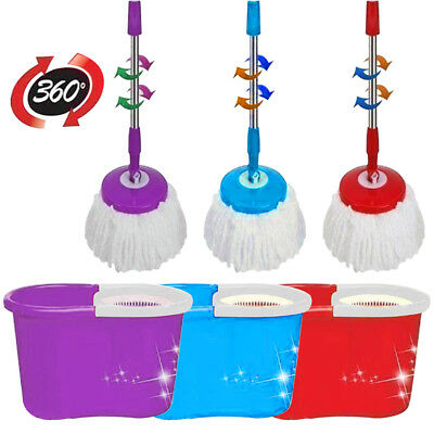 Home Cleaning Spinning 360° Mop And Bucket Wt 2 To 4 Mop Heads Red Blue & Purple