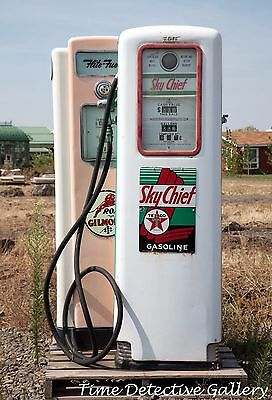 Two Vintage Gas Pumps - Giclee Photo Print