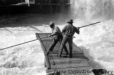 Indians Fishing for Salmon, Celilo Falls, Oregon (2) -1941- Historic Photo Print