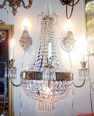 Stunning  Large Wall Sconce French Empire Basket Hollywood Regency Beaded Swags