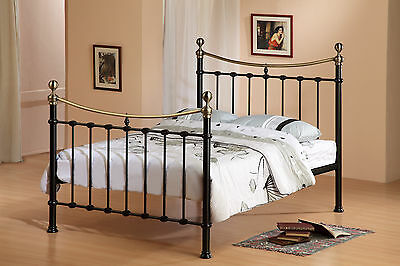 Elizabeth Metal Bed Frame in Black or Ivory Finish - Double, King Sizes