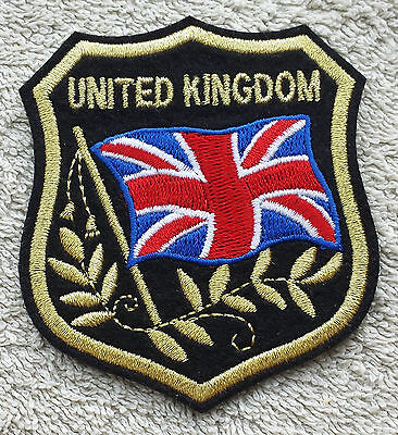 UNITED KINGDOM FLAG IN SHIELD PATCH Embroidered Badge 7 x 8cm Union Jack Britain