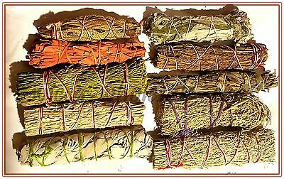 SET of 10 Sage Smudge Stick SAMPLER Blue, Red, White, Black Pinon Cedar Lavender
