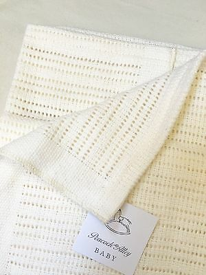 Peacock Alley Luxury Crochet Baby Blanket 100% Egyptian Cotton Ivory Nwt $104