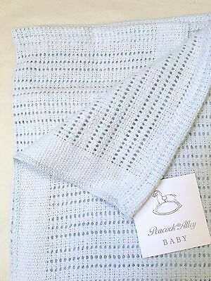 Peacock Alley Luxury Crochet Baby Blanket 100% Egyptian Cotton Blue Nwt $104
