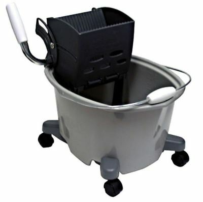 Quickie 5 Gal. Plastic Mop Bucket with Wringer Wheels Grip Handle Removeable