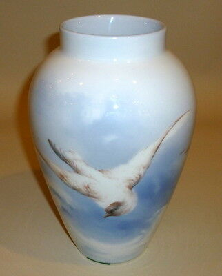 RARE Antique LIMOGES Signed French  Hand Ptd Blue Bird in Flight Delinieres Vase