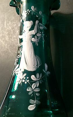 """Antique Vintage MARY GREGORY 8"""" Hand Painted Blue Art Glass Bud Vase Nice! #011"""
