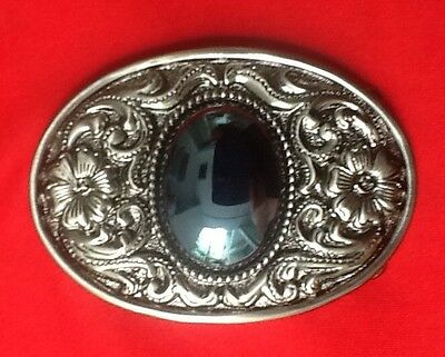 3D Black Jewel Stone Flower Art Design Gothic Nordic Celtic Oval Belt Buckle