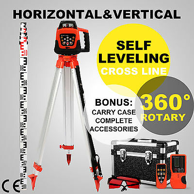Red Self-Leveling Rotary Laser Level + Tripod Inches Staff Measuring Tool