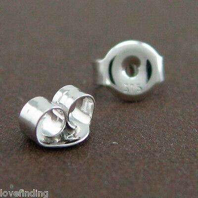 Genuine 9CT Solid White Gold Butterfly Earring Backs 5mm - 1 Pair
