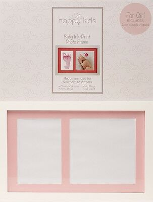 Baby Girl Pink - Keepsake Hand Foot Print Inkpad Photo Frame Set