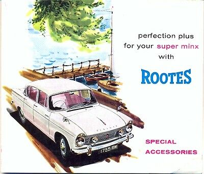 Hillman Super Minx ACCESSORIES UK market sales brochure c.1963