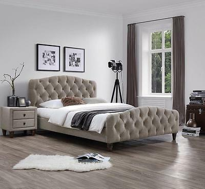 J&M Sandra King Size Bed Taupe Fabric Chic Modern style