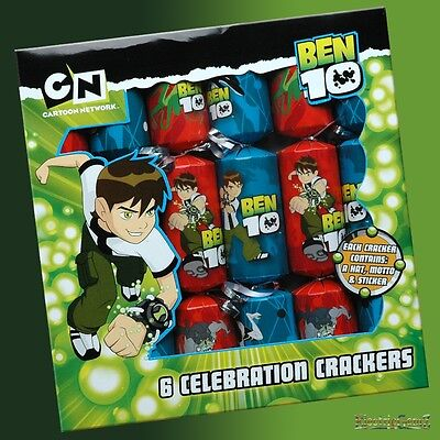 Ben 10 6 Large Full Size Christmas Party Celebration Crackers - New