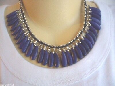 Ethnic Handmade Tribal Silver Bead Necklace With Blue Pottery Beads