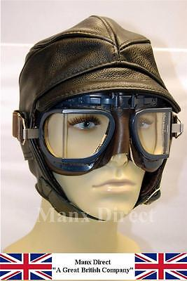 Uk Hand Made Gladiator Black Leather / Cotton Helmet Flying Driving Trike Cars
