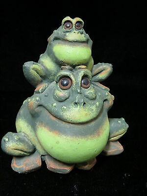 Double Frog Froggy Figurine Statue Pete Apsit Collectible Amphibian Animal 1993