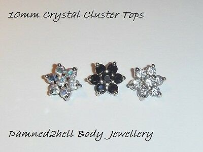 HUGE 10mm STEEL CLAW SET CRYSTAL FLOWER TOP FOR DERMAL ANCHOR BASES 1.6MM